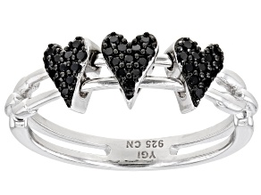 Black Spinel Rhodium Over Sterling Silver Heart Ring 0.20ctw