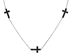 Black Spinel Rhodium Over Sterling Silver Cross Necklace 1.14ctw