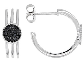 Black Spinel Rhodium Over Sterling Silver Hoop Earrings 0.31ctw
