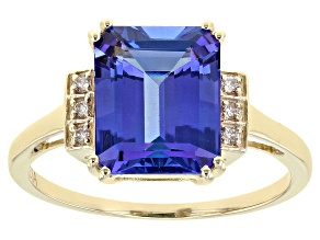 Blue Tanzanite 10k Yellow Gold Ring 3.20ctw