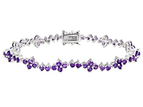 African Amethyst Rhodium Over Sterling Silver Tennis Bracelet 4.4ctw