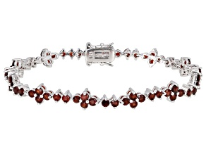 Red Garnet Rhodium Over Sterling Silver Tennis Bracelet 6.28ctw
