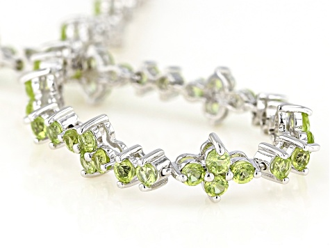 Peridot Rhodium Over Sterling Silver Tennis Bracelet 5.02ctw
