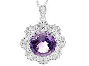Purple Amethyst Sterling Silver  Over Brass Pendant With Chain 23.00ct