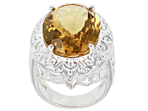 Yellow Citrine Sterling Silver Over Brass Solitaire Ring 14.50ct