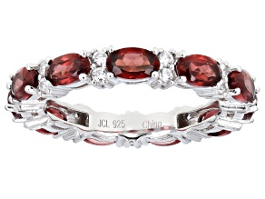 Red Garnet Rhodium Over Sterling Silver Band Ring 4.00ctw