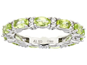Peridot Rhodium Over Sterling Silver Band Ring 4.00ctw