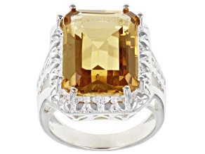 Yellow Citrine Sterling Silver Over Brass Ring 8.50ct