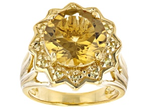 Yellow Citrine 18K Yellow Gold Over Sterling Silver Ring 5.25ctw