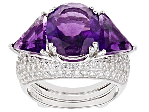 Amethyst Rhodium Over Sterling Silver Ring With Guard 8.00ctw