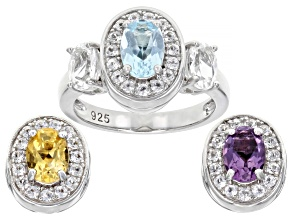 Mixed Interchangeable Gems Rhodium Over Silver Ring Set 3