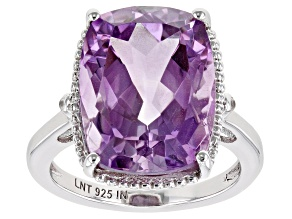 Purple Amethyst Rhodium Over Sterling Silver Ring 11.02ctw