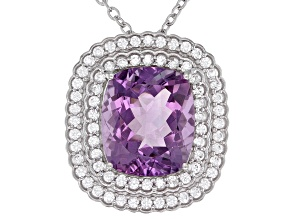Purple Amethyst Rhodium Over Sterling Silver Pendant With Chain  10.25ctw