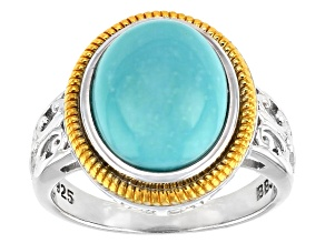 Blue Turquoise Rhodium& 18k Yellow Gold Over Sterling Silver Two-Tone Solitaire Ring
