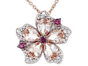 Peach Morganite 18k Rose Gold Over Silver Pendant Chain 2.34ctw