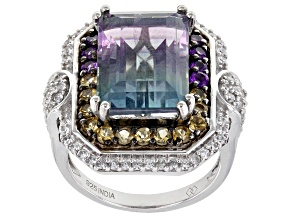 Bi-Color Fluorite Rhodium Over Sterling Silver Ring 11.11ctw