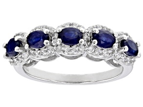 Blue Sapphire Rhodium Over Sterling Silver Band Ring 1.44ctw