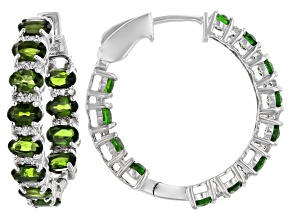 Green Chrome Diopside Rhodium Over Silver Inside -Out Hoop Earrings 5.50ctw