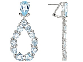 Sky Blue Topaz  Rhodium Over Sterling Silver Drop Earrings 21.56ctw