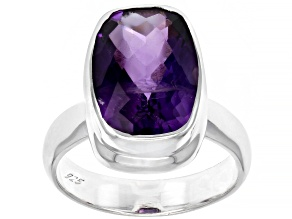 African Amethyst Rhodium Over Sterling Silver Ring 5.40tw