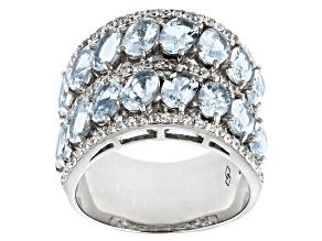 Blue Aquamarine Rhodium Over Sterling Silver Ring 6.97ctw