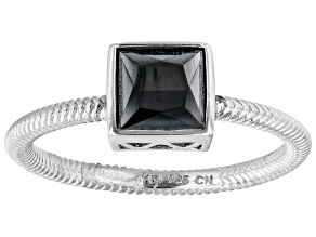Black Spinel Rhodium Over Sterling Silver Solitaire Ring 1.02ct