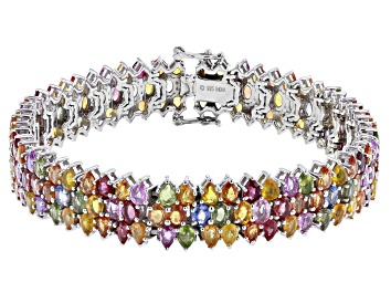 9.12 ctw Yellow Sapphire Tennis Bracelet in Platinum Over Sterling Silver 8.65 Grams Sapphire Jewelry Sapphire Gemstone Gift For Her