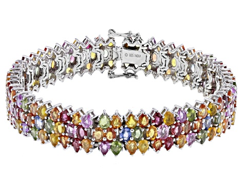 Multi-Sapphire Rhodium Over Sterling Silver Tennis Bracelet  31.00ctw