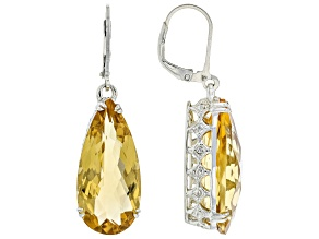 Yellow Citrine Rhodium Over Sterling Silver Dangle Earrings 25.00ctw