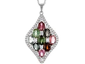 Multicolor Tourmaline Rhodium Over Silver Pendant Chain 5.65ctw