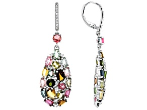 Multi-color Tourmaline Rhodium Over Sterling Silver Earrings 6.30ctw