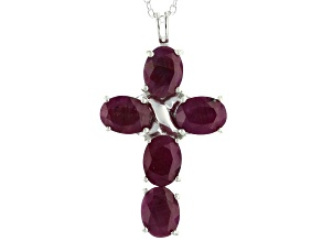 Red Ruby Sterling Silver Cross Pendant With Chain 6.50ctw