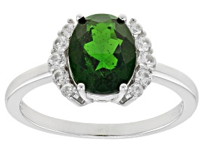 Green Chrome Diopside Rhodium Over Silver Ring 1.91ctw