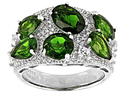 Chrome Diopside Rhodium Over Sterling Silver Ring 6.80ctw
