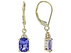 Blue Tanzanite 10k Yellow Gold Dangle Earrings 2.13ctw
