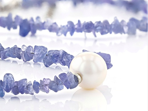 Tanzanite Free-from Rhodium Over Silver Necklace