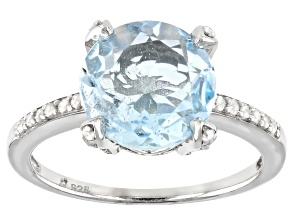 Sky Blue Topaz Rhodium Over Sterling Silver Ring 3.80ctw
