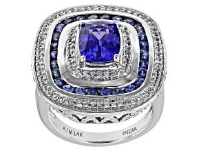 Blue Tanzanite Rhodium Over 14K White Gold Ring 2.97ctw