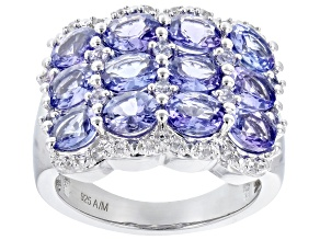 Blue Tanzanite Platinum Over Sterling Silver Ring 4.10ctw