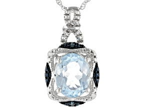 Sky Blue Topaz Rhodium Over Sterling Silver Pendant W/Chain 1.85ctw