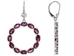Rhodolite Rhodium Over Sterling Silver Earrings 10.50ctw