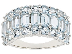 Sky Blue Topaz Rhodium Over Sterling Silver Band Ring 4.30ctw