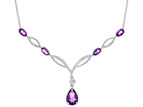 Purple Amethyst Rhodium Over Sterling Silver Necklace 2.28ctw
