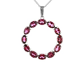 Rhodolite Rhodium Over Sterling Silver Pendant With Chain 4.60ctw
