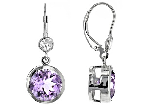 Amethyst  Rhodium Over Sterling Silver Dangle Earrings 6.80ctw