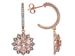 Peach Morganite 18K Rose Gold Over Sterling Silver Dangle Earrings 1.94ctw