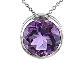 Amethyst Rhodium Over Sterling Silver Slide With Chain 4.5ctw