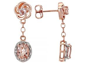 Peach Morganite 14K Rose Gold Over Sterling Silver Dangle Earrings 1.86ctw