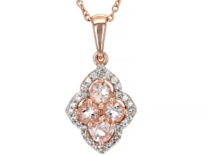 Peach Morganite 14K Rose Gold Over Sterling Silver Pendant With Chain 0.99ctw