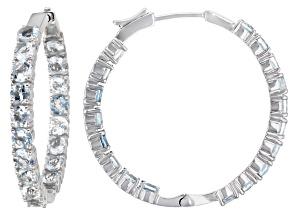 Blue Aquamarine Rhodium Over Sterling Silver Hoop Earrings 8.00ctw